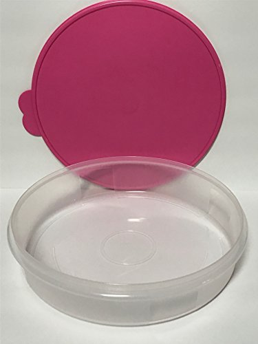 "Tupperware 12"" Large Pie Carrier Clear with Pink Seal"