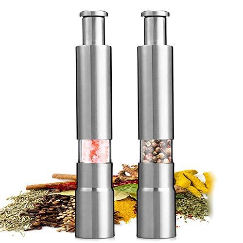 DAGUAI - Juego de molinillos de especias para sal y pimienta, molinillo de sal y pimienta, prensa de pulgar, molinos manuales de acero inoxidable