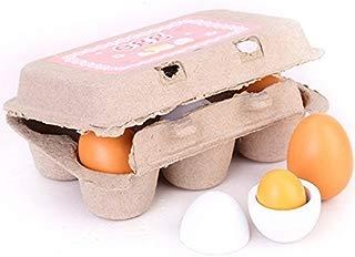 Zhisheng You 6 Pcs Carton Wooden Play Eggs Assembling Kids Gift Pre-School Educational Toy Kitchen Food
