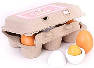 Zhisheng You 6 Pcs Carton Wooden Play Eggs Assembling Kids Gift Pre-School Educational Toy Kitchen Food