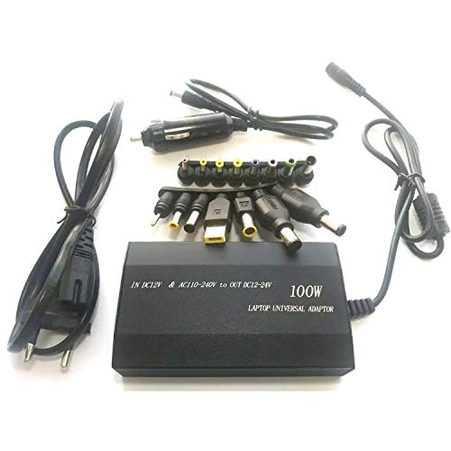 Selcouthlie 100W Universal PortáTil de la Fuente de AlimentacióN del Cargador del Coche Adaptador para el Ordenador PortáTil/TeléFono MóVil de Corriente USB y 15 Conectores Plug-UE