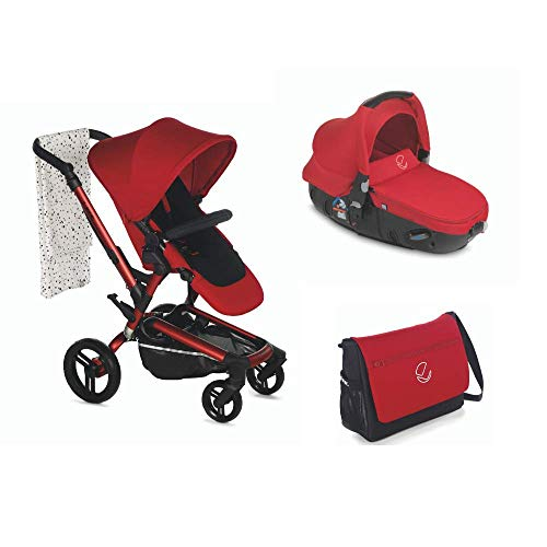Jané Rider - Cochecito de bebe 2 piezas, silla de paseo y portabebé convertible matrix light 2, suspensión trasera regulable, freno de mano, chasis de aluminio de 10,5 kg, plegado compacto, Rojo