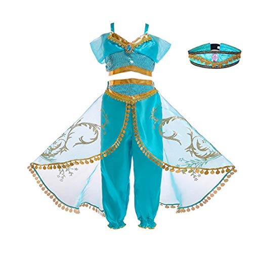 Petainer 2020 Nuevo Disfraz Aladin Nia Vestido de Jasmine Cosplay Costume con Sombrero (Verde, 110)