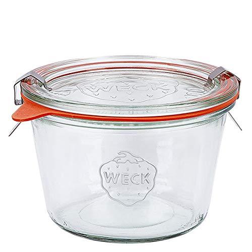 6x WECK-Sturzglas 370ml (1/4 Liter) mit Gummiring und 2 Klammern