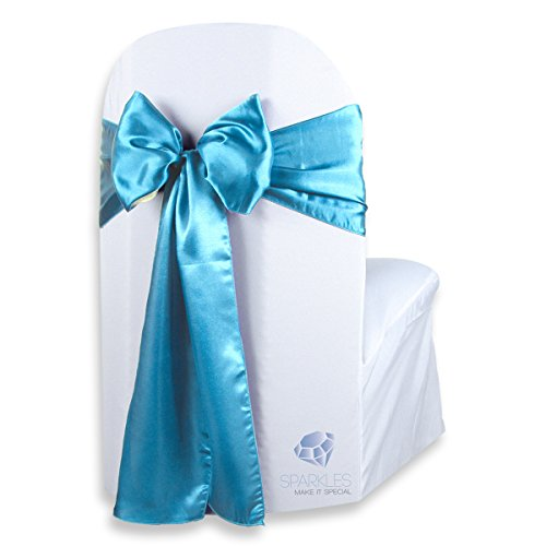 Sparkles Make It Special 50 pcs Satin Chair Cover Bow Sash - Aqua Blue - Wedding Party Banquet Reception - 28 Colors Available