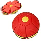 HHYSPA UFO Flying Disk Soccer Ball Deformation Magic Football Flat Throw Ball with Led Light Kids Outdoor Disc Ball Toy Red