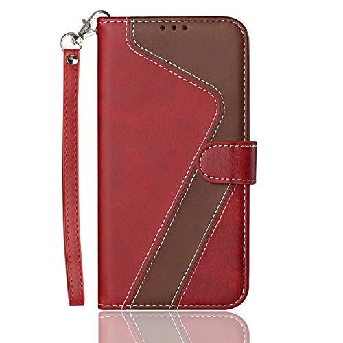 HEIGOU - Carcasa para Wiko Harry 2, de piel sintética, con ranuras para tarjetas, soporte integrado y cierre magnético, diseño angular, color rojo