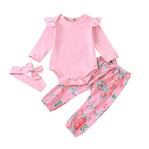Traje de bebé niña Otoño Ropa Infantil 18-24 Meses Mameluco de Manga Larga con Volantes Mono Rosa sólido Pantalones de Camelia para Fiesta