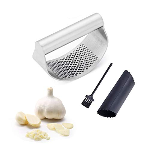 Garlic Press, Garlic Mincer, Stainless Steel Garlic Press Rocker Matching Garlic Peeler Roller and Cleaning Brush, Garlic Press Pampered Chef for Kitchen Easy Work