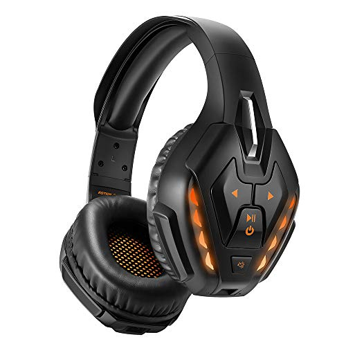 Wireless Gaming Headset, PHOINIKAS Detachable Wired Bluetooth Over Ear Headphone for PS4, Xbox One, PC, Nintendo Switch, with 7.1 Stereo Bass Surround, Noise Canceling Microphone, 40 Hours Playtime