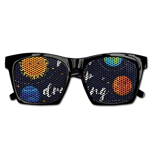 Mesh Sunglasses Sports Polarized, Outer Space Planets And Star Cluster Solar System Moon And Comets Sun Cosmos Illustration,Fun Props Party Favors Gift Unisex