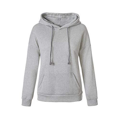 Women Hooded Sweatshirt Longf Sleeve Casual Letter Floral Print Pullover Tops (XL, Gray)