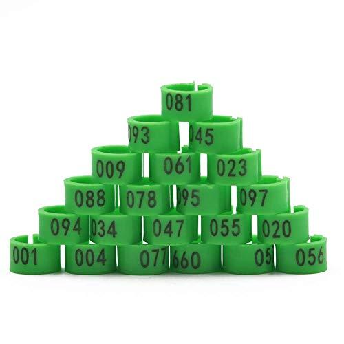 M.Z.A 100 Stück nummerierte Vogelbeinbänder 8 mm Geflügel-Beinringe für Kanarienvögel, Vögel, Hühner, Wachteln, Taube, Tauben-Fußringe 001–100 (grün)