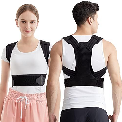 Correttore posturale per uomini e donne, raddrizzatore per la schiena e la colonna vertebrale con cintura traspirante e regolabile per migliorare la postura, schiena, collo e spalle (M)