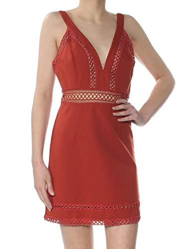 Free People Womens Iris Sleeveless Crochet Trim Mini Dress Bronze 12