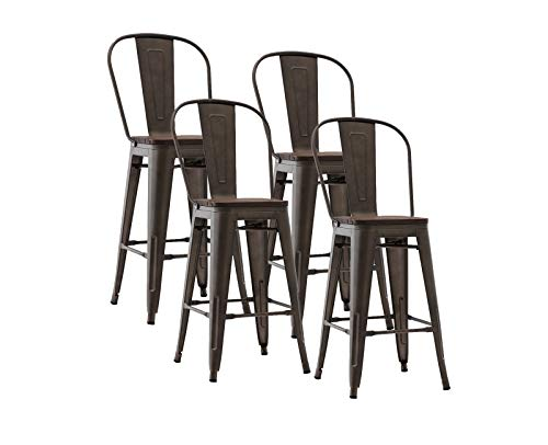 """Guyou Industrial Metal Bar Stools Set of 4, 26"""" Bar Height Barstool Chair with High Back, Wooden Seat【Gun】"""