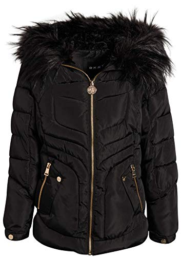 DKNY Girls Midweight Bubble Ski Jacket with Sherpa Lined and Faux Fur Trim Hood, Size 10/12, Black