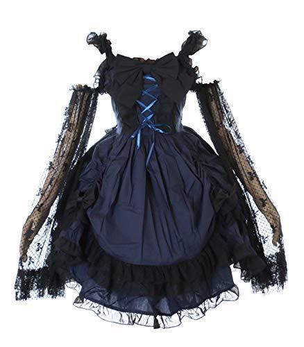 Kawaii-Story JL-691 Blau Gothic Schleife Rüschen Lace Lolita asymetrisch Kleid Kostüm Cosplay (S-M)