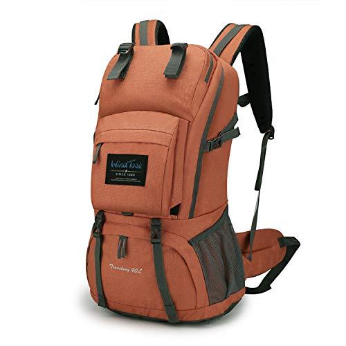 WindTook 40L Damen Rucksack Wanderrucksack Trekkingrucksack Daypack mit Regenschutz, 55 x 33 x 20 cm, Orange