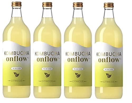 Kombucha Onflow - Té Kombucha Sabor a Cítricos - Pack 4 x 1 Litro - Bebida Vegana, Ecológica y Orgánica - Elimina Toxinas - Té Kombucha en Base a SCOBY - Elaborado en España