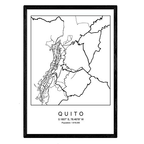 Nacnic Lámina Mapa de la Ciudad Quito Estilo nordico en Blanco y Negro. Poster tamaño A3 Sin Marco Impreso Papel 250 gr. Cuadros, láminas y Posters para Salon y Dormitorio