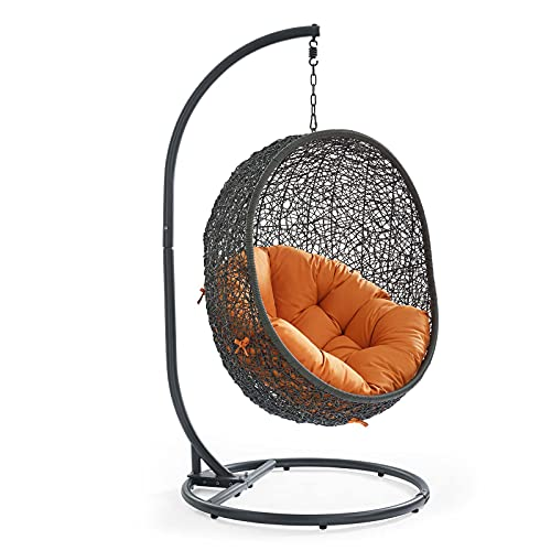 Modway EEI-2273-GRY-ORA Hide Wicker Rattan Outdoor Patio Porch Lounge Egg Swing Chair Set, With Stand, Gray Orange