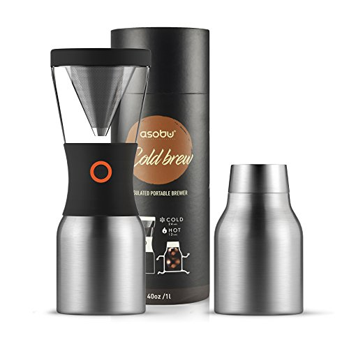 Asobu Coldbrew Portable Cold Brew Coffee Maker With a Vacuum Insulated 34oz Stainless Steel 18/8 Carafe Bpa Free (Silver)