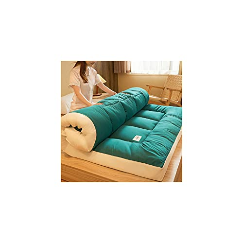 Japanese Folding Futon Mattress, Thicken Floor Mattress Twin Full Queen King Tatami Mat Portable Sleeping Pad Floor Bed Mattress Pad Topper-Green-King