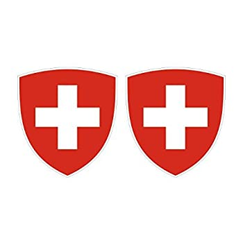 Two Pack Swiss Coat of Arms Sticker Decal Self Adhesive Vinyl Switzerland Flag Che CH Made in USA
