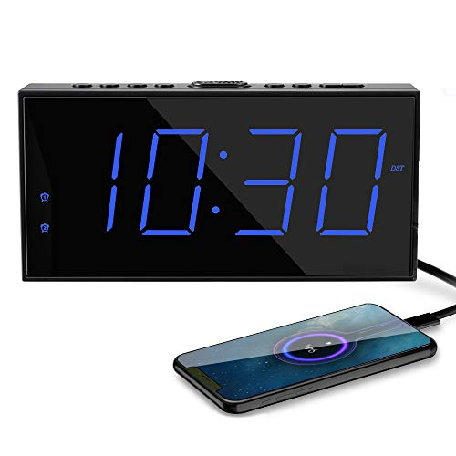 Home LED Large Numbers Digital Clock,AC Plug in Powered Alarm Clock with USB Phone Chargers,Dual Alarms,Big Snooze,12/24H,DST,Battery Backup Clock for Kids Heavy Sleeper Elderly Bedroom Nightstand