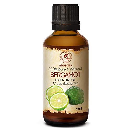 Aceite Esencial de Bergamota 50ml - Citrus Bergamia - Aromaterapia - Aceites Esenciales - 100% Puro para - Cuidado de la Piel y el Cabello - Difusor - Sauna - Relajación - Limpieza del Hogar
