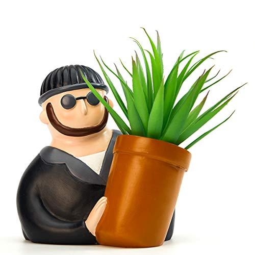 AYUSHOP Macetas de Resina para Flores y Plantas, Retrato de Dibujos Animados Conjunto de Plantador con Agujero,Portalápices Decoración para Oficina Casa Ventana,C