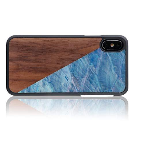 WOLA Carcasa Madera para iPhone X/XS Aqua Funda de Madera y nácar Nogal Azul