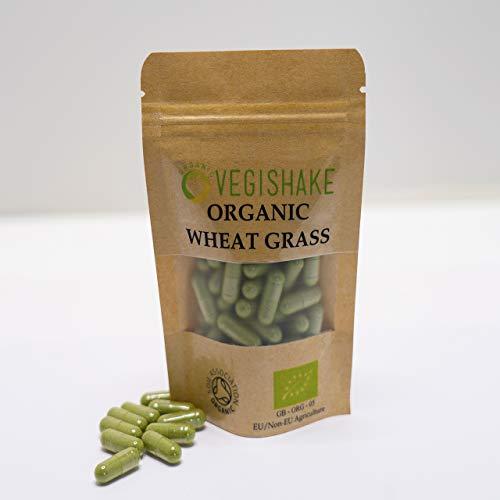 Organic Wheat Grass Vegan Pullulan Capsules 1000mg Chlorophyll Amino Acids Minerals Vitamins & Enzymes (90 Capsules)