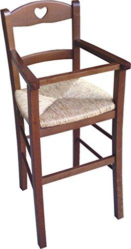 Sic–Seggiolone per bambino con protezione in noce–Seduta in paglia