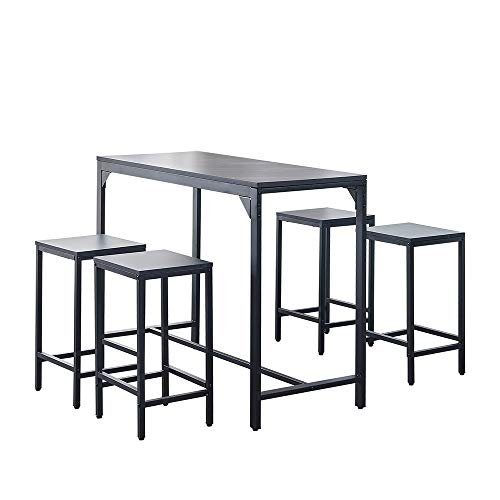 Ansley&HosHo 5 PCS Bar Table and 4 Stools Set for Breakfast Black Marble-like Dining Room Table and Chair Set of 4 for Kitchen Small Dinette Wood Tabletop Metal Frame Home Apartment