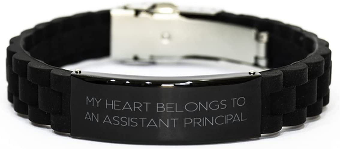 Epic Assistant Principal Gifts, My Heart Belongs to an Assistant, Useful Black Glidelock Clasp Bracelet for Coworkers from Team Leader