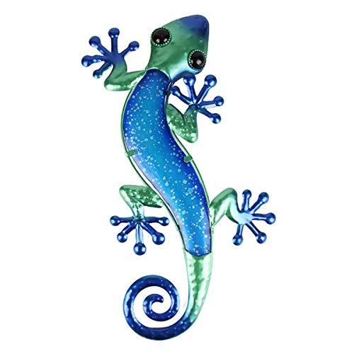 Cutfouwe Geschenk Handgefertigte Metall Mit Glas Blau Grün Eidechse Design Wand-Dekor Für Haus, Patio, Veranda, Gartenwand, Bad,Blau