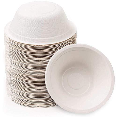 Lot de 60 bols en papier solide de 500 ml, jetables, respectueux de lenvironnement, biodégradables et compostables pour les fêtes