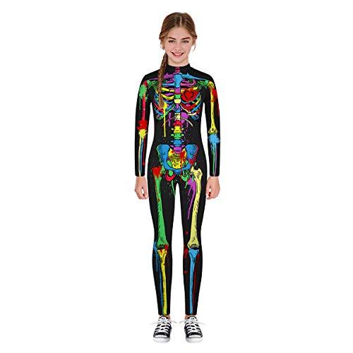 Leezeshaw Unisex Girls Boys Halloween Skeleton Costumes Kids 3D Colored Skeleton Skull Print Long Sleeve Fancy Dress Halloween Cosplay Unitard Bodysuit
