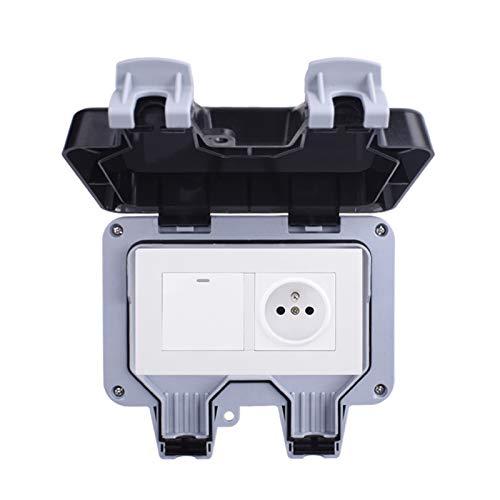 Toma de corriente de la pared de la pared al aire libre impermeable IP66 a prueba de intemperie con 1 gangilla 1 forma de encendido/apagado del interruptor de luz