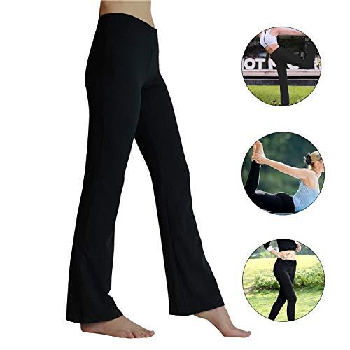 HETAIDA Damen Jogginghose, schnell trocknende Sporthose mit versteckten Taschen, Mittlhohe Taille Stilvolle Freizeitliche Yogahose für Fitness, Outdoor-Sport und als Alltagskleidung (Black, S)