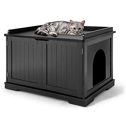 Wooden Cat Litter Box Enclosure, X-Large Cat Washroom Storage Bench with Top Apron and Removable...