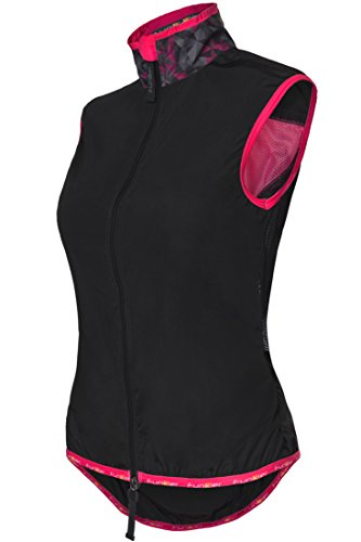 Funkier Cobina Active Cycling and Running Gilet Coupe-Vent Femme, Noir/Rose, XS