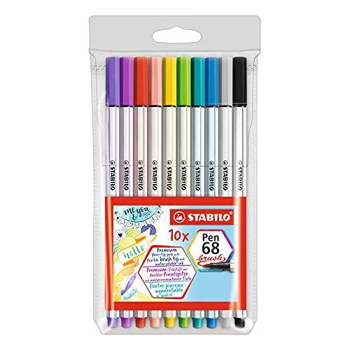 Rotulador punta de pincel STABILO Pen 68 brush - Estuche con 10 colores