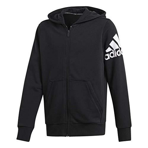 adidas Jungen YB MH BOS FZ Sweatshirt, schwarz/weiß, 152 (11/12 años)