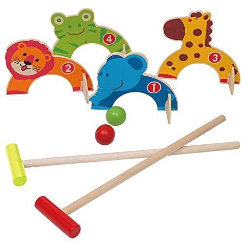 Jacootoys Holz Tier Krocket Set Golfspielzeug mit 2 Bällen Minigolf Frühe Erziehung Lernspiel Geschenk für Kinder Jungen Mädchen