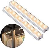 OUSFOT Luce Armadio Guardaroba con Sensore di Movimento, Luce per Armadio con Sensore Usb Ricaricabile 10 Led Striscia Magnetica Adesiva per Armadio Camera da letto (Bianca Calda)