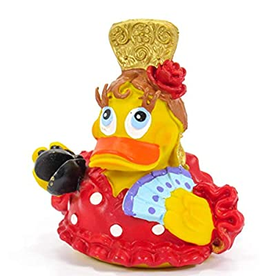 Flemeca Spanish Dancer Rubber Duck Bath Toy | All Natural, Organic, Eco Friendly, Squeaker | Imported from Barcelona, Spain