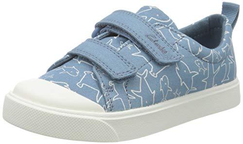 Clarks City Bright T, Zapatillas, Lona Azul Medio, 26 EU
